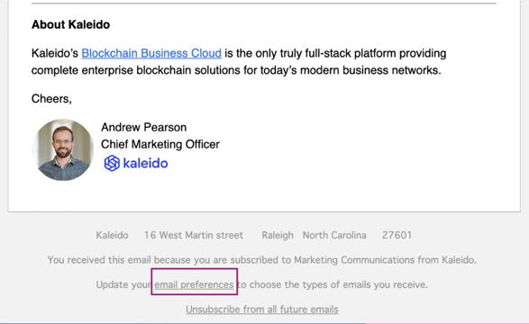 Email preferences screenshot